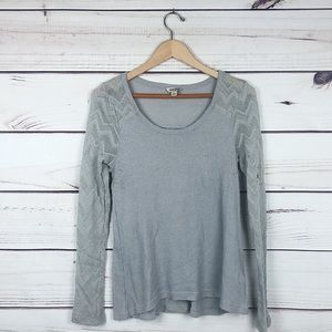 Lucky Brand Gray Waffle Knit Long Sleeve Top L